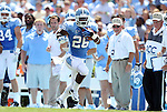 01 September 2012: UNC's Giovanni Bernard breaks free for his first touchdown run. The University of North Carolina Tar Heels played the Elon University Phoenix at Kenan Memorial Stadium in Chapel Hill, North Carolina in a 2012 NCAA Division I Football game.