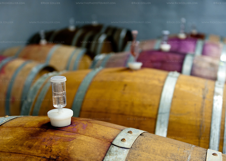 Barrels of red wine, fitted with airlocks for fermentation in the working area of Glass House Winery in Free Union VA.