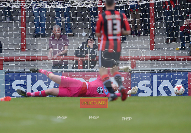 07/05/2016 Sky Bet League Two Morecambe v York City<br /> Barry Roche fails to stop Luke Summerfield's goal