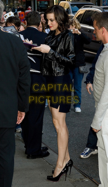"""LIV TYLER.Arriving for her appearance on the """"Late Show with David Letterman"""" at the Ed Sullivan Theater, New York, NY, USA..May 19th, 2008.full length black blue leather jacket dress heels .CAP/LNC/TOM.©TOM/LNC/Capital Pictures."""