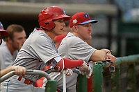 Clearwater Threshers shortstop Nick Maton (6) and hitting coach Chris Heintz (41) watch from the dugout during a Florida State League game against the Dunedin Blue Jays on April 4, 2019 at Spectrum Field in Clearwater, Florida.  Dunedin defeated Clearwater 11-1.  (Mike Janes/Four Seam Images)