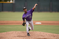 Colorado Rockies relief pitcher Keinter Olivares (52) delivers a pitch to the plate during an Extended Spring Training game against the Arizona Diamondbacks at Salt River Fields at Talking Stick on April 16, 2018 in Scottsdale, Arizona. (Zachary Lucy/Four Seam Images)