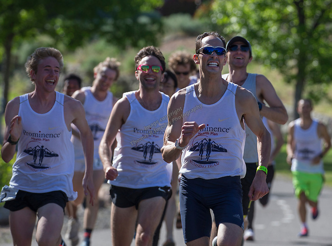 Dominic Henriquez leads the Prominence Health Plan team to the 2019 Reno Tahoe Odyssey finish at Idlewild Park in Reno on Saturday, June 1, 2019.  The team finished in 16 hours, 54 minutes and 10 seconds.