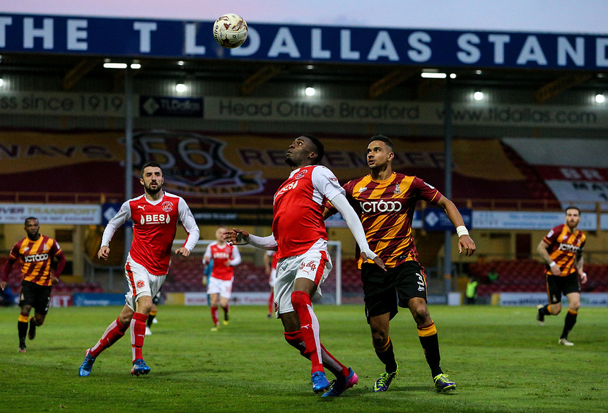 Fleetwood Town's Devante Cole shields the ball from Bradford City's James Meredith<br /> <br /> Photographer Alex Dodd/CameraSport<br /> <br /> The EFL Sky Bet League One - Play-Off Semi-Final First Leg - Bradford City v Fleetwood Town - Thursday 4th May 2017 - Coral Windows Stadium - Bradford<br /> <br /> World Copyright &copy; 2017 CameraSport. All rights reserved. 43 Linden Ave. Countesthorpe. Leicester. England. LE8 5PG - Tel: +44 (0) 116 277 4147 - admin@camerasport.com - www.camerasport.com