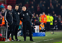 Manchester United manager Ole Gunnar Solskjaer has a word with four official Andy Madley <br /> <br /> Photographer Alex Dodd/CameraSport<br /> <br /> The Premier League - Sheffield United v Manchester United - Sunday 24th November 2019 - Bramall Lane - Sheffield<br /> <br /> World Copyright © 2019 CameraSport. All rights reserved. 43 Linden Ave. Countesthorpe. Leicester. England. LE8 5PG - Tel: +44 (0) 116 277 4147 - admin@camerasport.com - www.camerasport.com