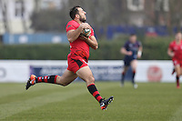 Sam Katz of Jersey Reds during the Greene King IPA Championship match between London Scottish Football Club and Jersey at Richmond Athletic Ground, Richmond, United Kingdom on 18 February 2017. Photo by David Horn / PRiME Media Images.