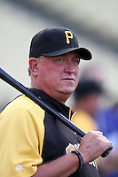 Pittsburgh Pirates manager Clint Hurdle #13 before a game against the Los Angeles Dodgers at Dodger Stadium on September 16, 2011 in Los Angeles,California. Los Angeles defeated Pittsburgh 7-2.(Larry Goren/Four Seam Images)
