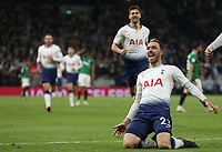 Tottenham Hotspur's Christian Eriksen celebrates scoring his side's first goal <br /> <br /> Photographer Rob Newell/CameraSport<br /> <br /> The Premier League - Tottenham Hotspur v Brighton and Hove Albion - Tuesday 23rd April 2019 - White Hart Lane - London<br /> <br /> World Copyright © 2019 CameraSport. All rights reserved. 43 Linden Ave. Countesthorpe. Leicester. England. LE8 5PG - Tel: +44 (0) 116 277 4147 - admin@camerasport.com - www.camerasport.com
