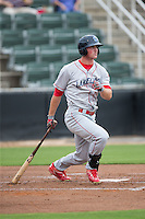 Cord Sandberg (17) of the Lakewood BlueClaws follows through on his swing against the Kannapolis Intimidators at Intimidators Stadium on July 14, 2015 in Kannapolis, North Carolina.  The Intimidators defeated the BlueClaws 8-2.  (Brian Westerholt/Four Seam Images)