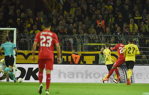 07.04.2016. Dortmund, Germany. Europa League quarterfinal. Borussia Dortmund versus Liverpool FC at the Signal Iduna Park Dortmund.  Divock Origi (FC Liverpool) celebrates as he scores for 0:1