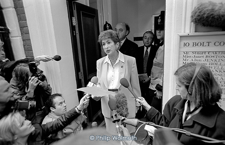 Lady Shirley Porter announces her intention to appeal against the District Auditor's findings in the Wesminster 'Homes for Votes' investigation. Bolt Court, Fleet Street, London.