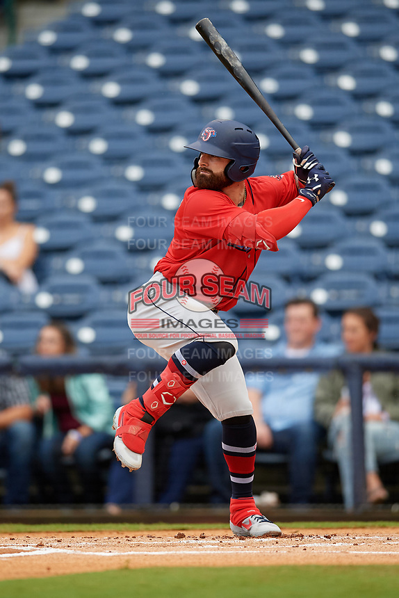 Jacksonville Jumbo Shrimp John Silviano (22) at bat during a Southern League game against the Mississippi Braves on May 4, 2019 at Trustmark Park in Pearl, Mississippi.  Mississippi defeated Jacksonville 2-0.  (Mike Janes/Four Seam Images)