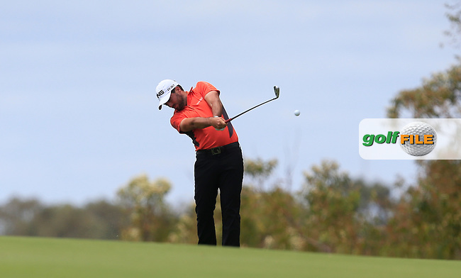 John Parry (ENG) on the 18th tee during Round 3 of the ISPS HANDA Perth International at the Lake Karrinyup Country Club on Saturday 25th October 2014.<br /> Picture:  Thos Caffrey / www.golffile.ie