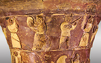 Hüseyindede vases, Old Hittite Polychrome Relief vessel, top frieze depicting a procession of musicians and dancers, , 16th century BC. . Çorum Archaeological Museum, Corum, Turkey