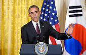 United States President Barack Obama speaks during a joint press conference with President Park Geun-hye of the Republic of Korea in the East Room of the White House October 16 2015 in Washington, DC. <br /> Credit: Olivier Douliery / Pool via CNP