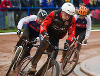 31 AUG 2015 - IPSWICH, GBR - Zac Payne (centre) of Horspath leads Ipswich's Adam Peck (left) and Jamie Chittock (right) during a heat at the British Cycle Speedway Championships at Whitton Sports and Community Centre in Ipswich, Suffolk, Great Britain (PHOTO COPYRIGHT © 2015 NIGEL FARROW, ALL RIGHTS RESERVED)