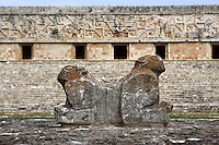 The Throne of the Two-Headed Jaguar with the façade of the Governor?s Palace in the background, Puuc architecture, Uxmal late classical Mayan site, flourished between 600-900 AD, Yucatan, Mexico. Picture by Manuel Cohen