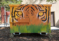 Tiger Cooler, Samuelson Pavilion. One of many dumpsters painted by students as part of the Dumpster Art Project, sponsored by the Office of Sustainability. Photographed June 8, 2018.<br /> (Photo by Marc Campos, Occidental College Photographer)