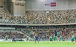 Stockholm 2015-02-16 Fotboll Tr&auml;ningsmatch Hammarby IF - LA Galaxy :  <br /> Vy &ouml;ver Tele2 Arena med publik och tomma sektioner p&aring; l&auml;ktaren under matchen mellan Hammarby IF och LA Galaxy <br /> (Foto: Kenta J&ouml;nsson) Nyckelord:  Fotboll Tr&auml;ningsmatch Tele2 Arena Hammarby HIF Bajen Los Angeles LA Galaxy inomhus interi&ouml;r interior supporter fans publik supporters