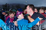 Dromids manager Declan O'Sullivan celebrates as the final whistle is blown at the South Kerry Senior Football Championship in Ballinskelligs on Saturday.