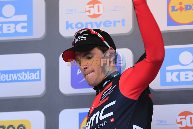 Greg Van Avermaet (BEL) BMC Racing Team takes 2nd place at the end of the 2014 Tour of Flanders, Oudenaarde, Belgium.<br /> Picture: Eoin Clarke www.newsfile.ie