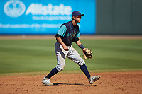 Lynchburg Hillcats shortstop Tyler Freeman (2) on defense against the Winston-Salem Rayados at BB&T Ballpark on June 23, 2019 in Winston-Salem, North Carolina. The Hillcats defeated the Rayados 12-9 in 11 innings. (Brian Westerholt/Four Seam Images)
