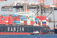 Containers on the Hanjin Malta at the Maher Terminals container terminal facility in the Port Newark-Elizabeth Marine Terminal in Newark Bay.