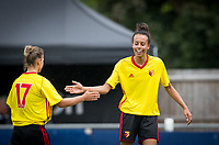 Double goalscorer Natalie Murray (right) with Simona Petkova of Watford Ladies during the pre season friendly match between Stevenage Ladies FC and Watford Ladies at The County Ground, Letchworth Garden City, England on 16 July 2017. Photo by Andy Rowland / PRiME Media Images.