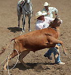 Maynard Victor competes in the double mugging event at the Minden Ranch Rodeo in Gardnerville, Nev., on Sunday, July 22, 2012..Photo by Cathleen Allison