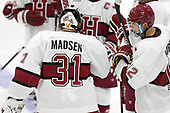 Merrick Madsen (Harvard - 31), John Marino (Harvard - 12) - The Harvard University Crimson defeated the visiting Boston College Eagles 5-2 on Friday, November 18, 2016, at the Bright-Landry Hockey Center in Boston, Massachusetts.