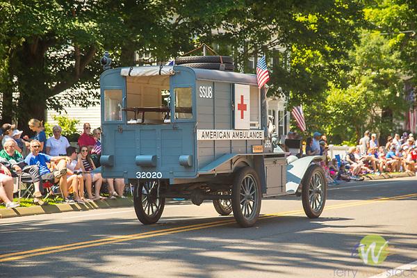 4th of July Parade, Madison, CT. Vintage American Ambulance. 1920's.
