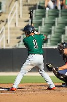 Randy Ortiz (1) of the Augusta GreenJackets at bat against the Kannapolis Intimidators at CMC-NorthEast Stadium on August 3, 2014 in Kannapolis, North Carolina.  The Intimidators defeated the GreenJackets 10-5. (Brian Westerholt/Four Seam Images)
