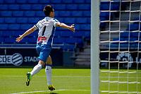 13th June 2020, Barcelona, Spain; La Liga football, RCD Espanyol versus Alaves;  RCD Espanyols Wu Lei celebrates after scoring in the 47th minute for 2-0