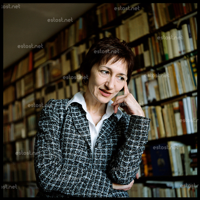 "ROMANIA, Cluj, 10.05..Doctor es philosophy, Marta Petreu is teacher at the faculty of Cluj. Essayist, chief editor of the literary journal ""Apostrof"" and poet, she has published, among others, ""Like in a draw of Escher"" and ""Shameless Poems"". Born in 1955, her poetic imaginary is deeply influenced by the religious conflits which have taken place in her own family..© Bruno Cogez / ostphoto"