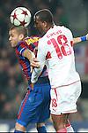 Barcelona's Dani Alves against VfB Stuttgart's Cacau during  Champions League match.  March 17, 2010. (ALTERPHOTOS/Tati Quinones)