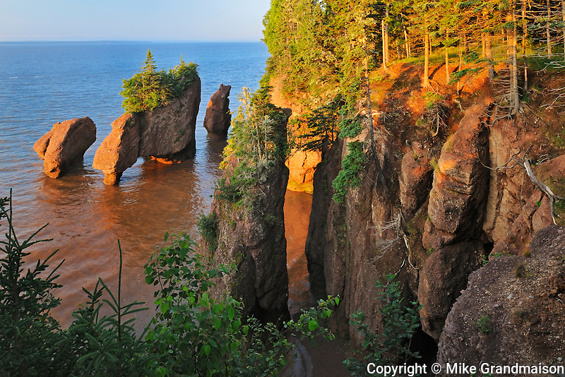Rocks at Cape Hopewell at sunrise as tide is withdrawing<br /> The Rocks Provincial Park<br /> New Brunswick<br /> Canada