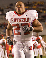 02 December 2006: Rutgers running back Ray Rice (27)..The West Virginia Mountaineers defeated the Rutgers Scarlet Knights 41-39 in triple overtime on December 02, 2006 at Mountaineer Field, Morgantown, West Virginia. .