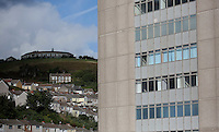 WORDS BY KARL WEST<br /> Pictured: Mayhill School (TOP) and houses in the area of Mount Pleasant and Alexandra House (R) as seen from a High Street roof top Friday 30 September 2016<br /> Re: The regeneration of the High Street in Swansea, Wales, UK
