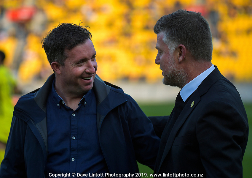 Roar coach Robbie Fowler chats with Phoenix coach Ufuk Talay before the A-League football match between Wellington Phoenix and Brisbane Roar at Westpac Stadium in Wellington, New Zealand on Saturday, 23 November 2019. Photo: Dave Lintott / lintottphoto.co.nz