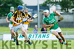 In Action Abbeydorney's Ronan Donovan and Ballyduff's Paud Costello at the Garvey's Supervalu Senior County Hurling Championship - Round 1 Abbeydorney Vs Ballyduff at Austin Stack Park on Saturday