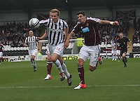 Marc McAusland heads back in the St Mirren v Heart of Midlothian Clydesdale Bank Scottish Premier League match played at St Mirren Park, Paisley on 15.9.12.