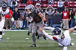 Kaleb Fossum, Washington State punt returner, looks for a lane during the Cougars Pac-12 Conference demolition of the Arizona Wildcats, 69-7, on November 5, 2016, at Martin Stadium in Pullman, Washington.