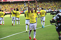 BARRANQUILLA  - COLOMBIA - 8-10-2015: Teofilo Gutierrez jugador de la seleccion Colombia  celebra su gol contra la seleccion Peru durante primer partido  por por las eliminatorias al mundial de Rusia 2018 jugado en el estadio Metropolitano Roberto Melendez  / :Teofilo Gutierrez player of Colombia  celebrates his goal against  of selection of Peru during first qualifying match for the 2018 World Cup Russia played at the Estadio Metropolitano Roberto Melendez. Photo: VizzorImage / Felipe Caicedo / Staff.