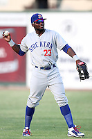 Stockton Ports outfielder Rashun Dixon #23 during a game against the Inland Empire 66'ers at Arrowhead Credit Union Park on September 4, 2011 in San Bernardino,California. Stockton defeated Inland Empire 3-0.(Larry Goren/Four Seam Images)