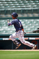 GCL Twins left fielder Jean Carlos Arias (1) at bat during a game against the GCL Orioles on August 11, 2016 at the Ed Smith Stadium in Sarasota, Florida.  GCL Twins defeated GCL Orioles 4-3.  (Mike Janes/Four Seam Images)