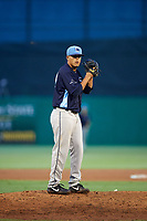 Charlotte Stone Crabs relief pitcher Michael Velasquez (29) gets ready to deliver a pitch during a game against the Palm Beach Cardinals on July 22, 2017 at Roger Dean Stadium in Palm Beach, Florida.  Charlotte defeated Palm Beach 5-2.  (Mike Janes/Four Seam Images)