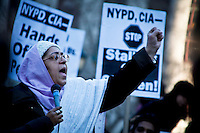 """Muslims holds a protest demanding """"detoxification"""" of brainwashed Police officers and resignation of police top Brass in New York, USA.  January 3, 2012. Photo by Kena Betancur / viewpress"""