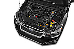 Car Stock 2015 Subaru Impreza 2.0I Premium Auto 4 Door Sedan Engine high angle detail view