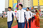(L-R) Mayuka Yamamoto, Ayatsugu Hirai, Shogo Takeda (JPN), <br /> AUGUST 16, 2018 : Welcome Ceremony for the Japanese delegation at Athlete's Village during the 2018 Jakarta Palembang Asian Games in Jakarta, Indonesia. (Photo by MATSUO.K/AFLO SPORT)