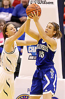 Penn guard/forward Camryn Buhr (34) guards Columbus North forward Elle Williams (15) during the IHSAA Class 4A Girls Basketball State Championship Game on Saturday, Feb. 27, 2016, at Bankers Life Fieldhouse in Indianapolis.